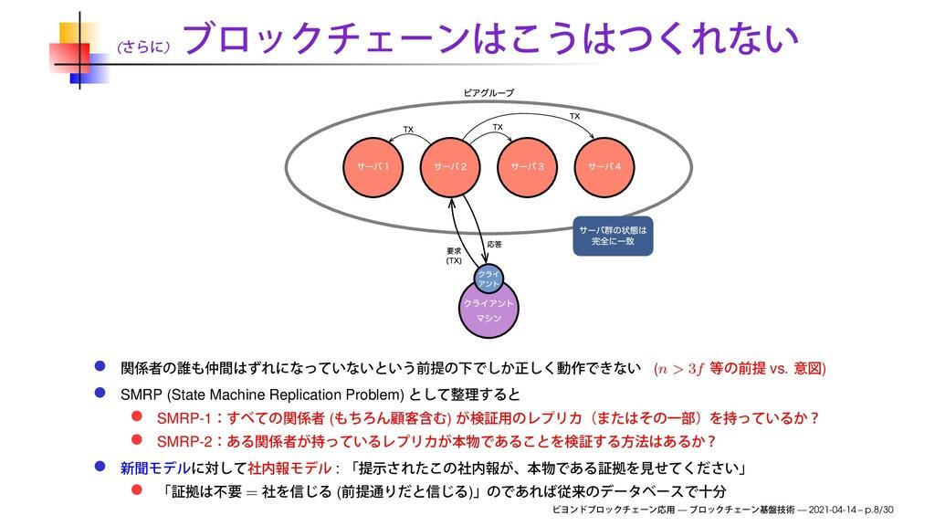 ( ) (n > 3f vs. ) SMRP (State Machine Replicati...