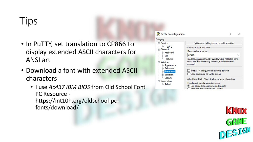 Tips • In PuTTY, set translation to CP866 to di...