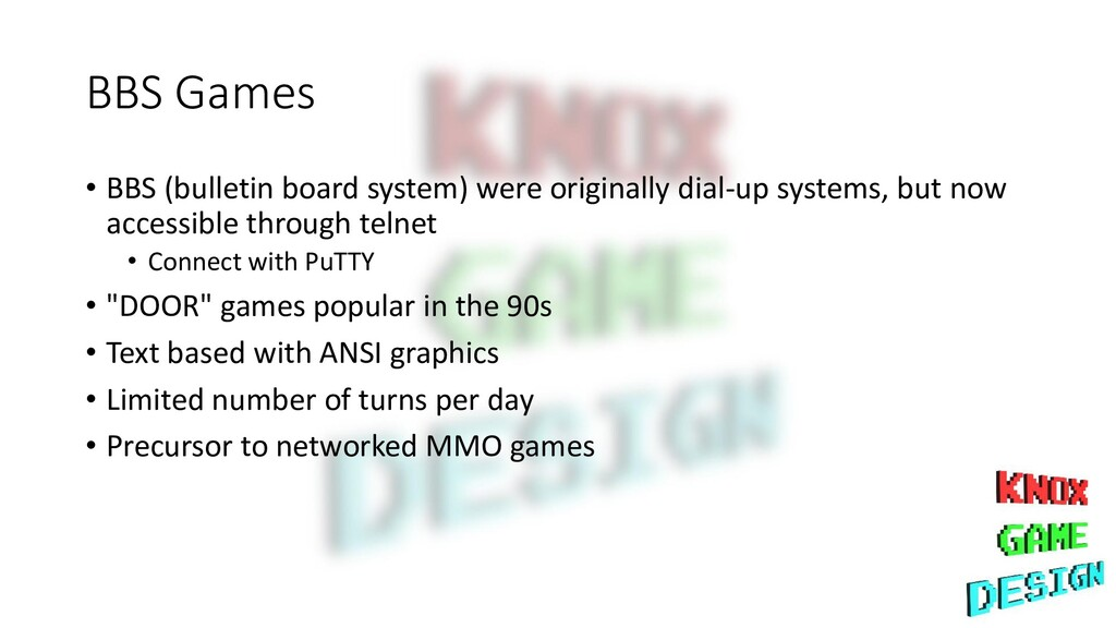 BBS Games • BBS (bulletin board system) were or...