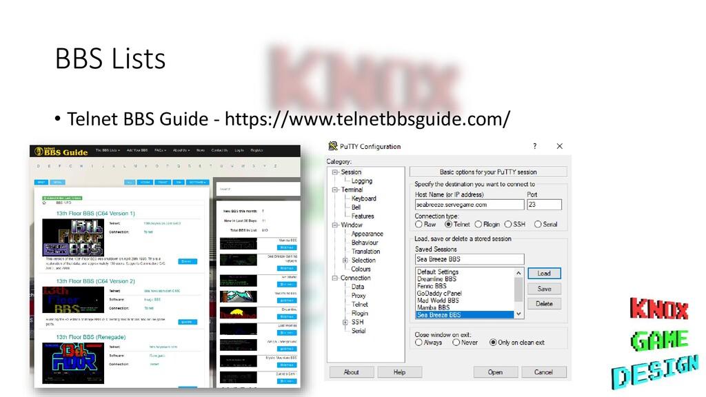 BBS Lists • Telnet BBS Guide - https://www.teln...