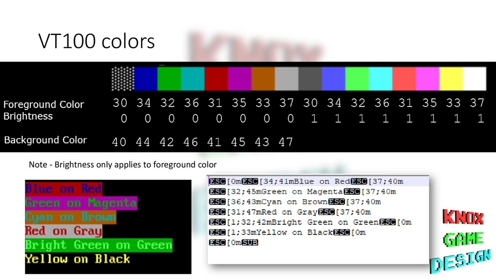 VT100 colors Note - Brightness only applies to ...