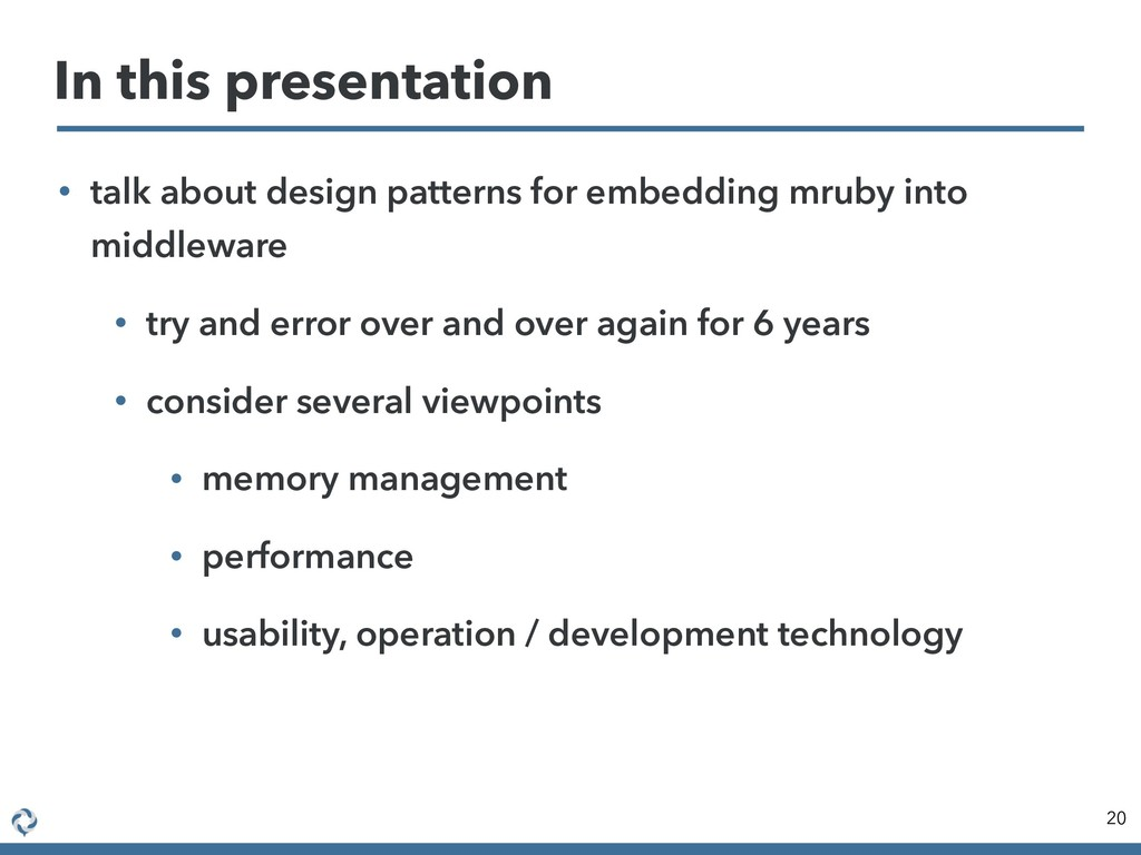 • talk about design patterns for embedding mrub...