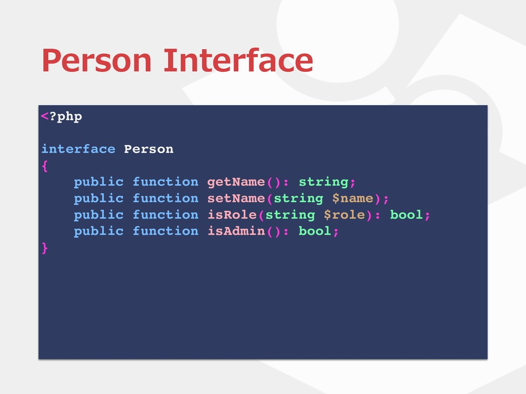 <?php interface Person { public function getNam...