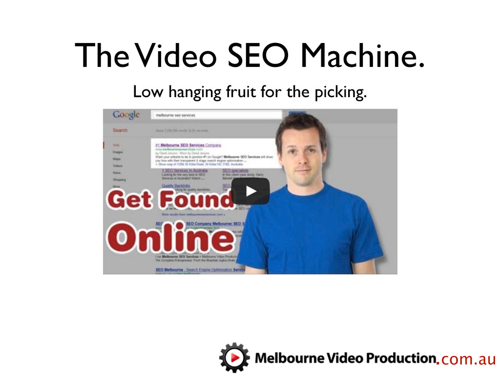 The Video SEO Machine. Low hanging fruit for th...