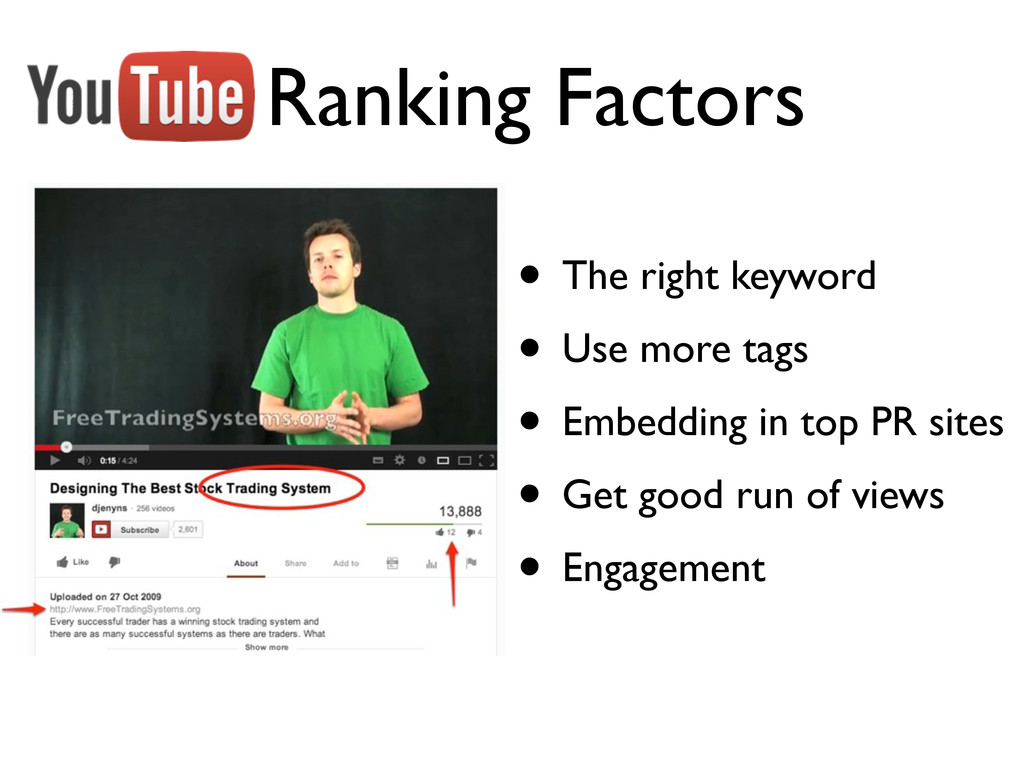 Ranking Factors • The right keyword • Use more ...