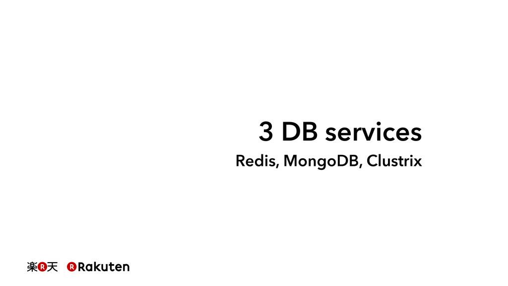 3 DB services Redis, MongoDB, Clustrix