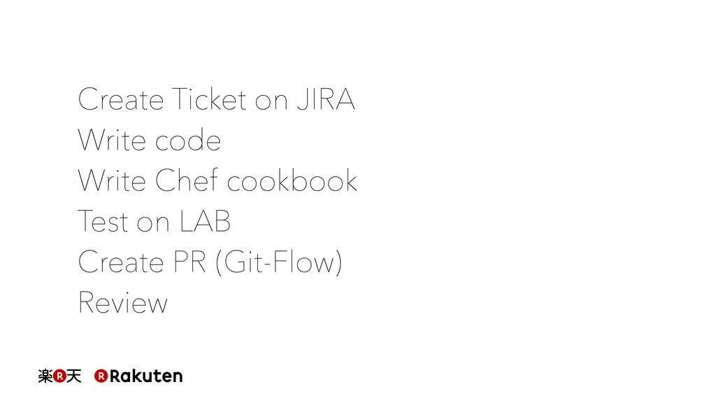 Create Ticket on JIRA Write code Write Chef coo...