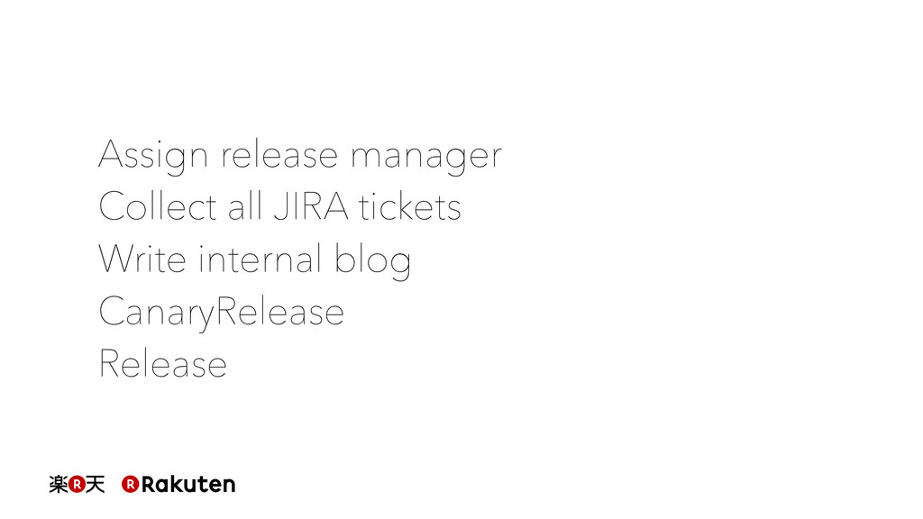 Assign release manager Collect all JIRA tickets...