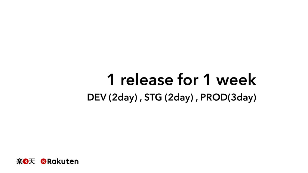 1 release for 1 week DEV (2day) , STG (2day) , ...