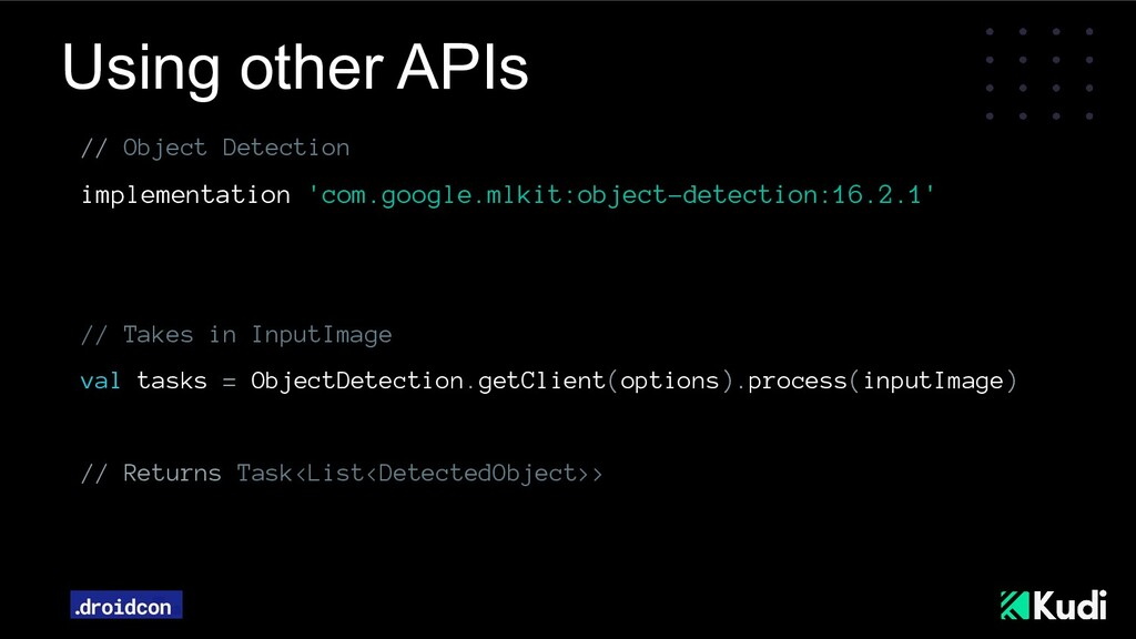 Using other APIs // Object Detection implementa...