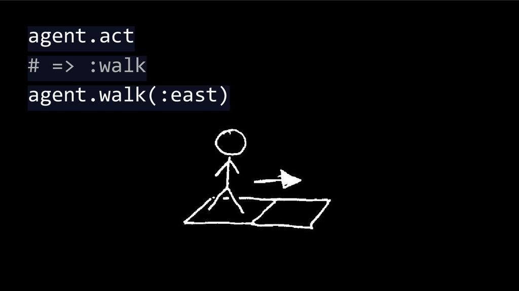 agent.act # => :walk agent.walk(:east)