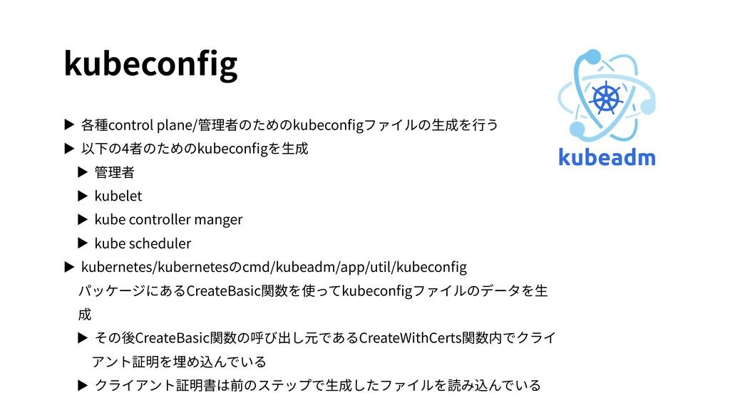 kubeconfig ▶ 各種control plane/管理者のためのkubeconfigファイ...