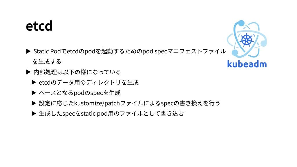 etcd ▶ Static Podでetcdのpodを起動するためのpod specマニフェス...
