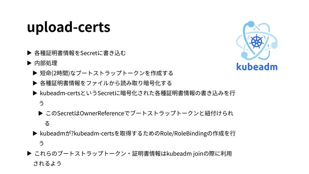 upload-certs ▶ 各種証明書情報をSecretに書き込む ▶ 内部処理 ▶ 短命(...