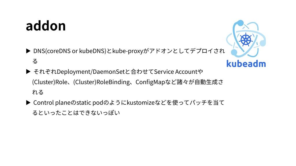 addon ▶ DNS(coreDNS or kubeDNS)とkube-proxyがアドオン...