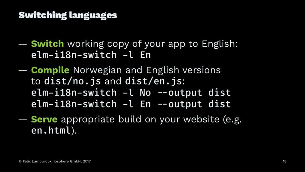 Switching languages — Switch working copy of yo...