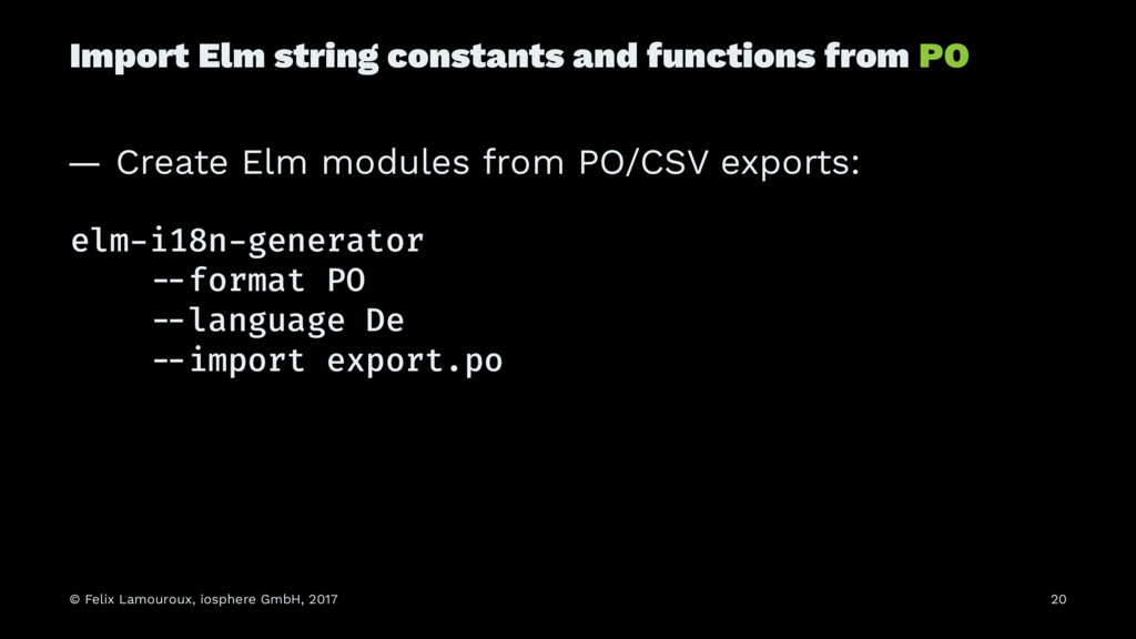 Import Elm string constants and functions from ...