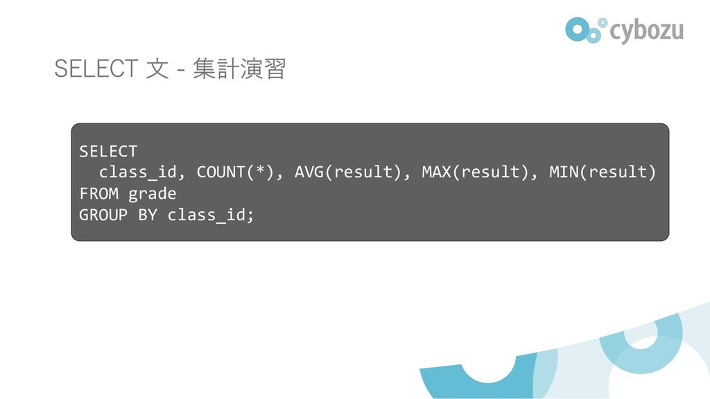 SELECT class_id, COUNT(*), AVG(result), MAX(res...