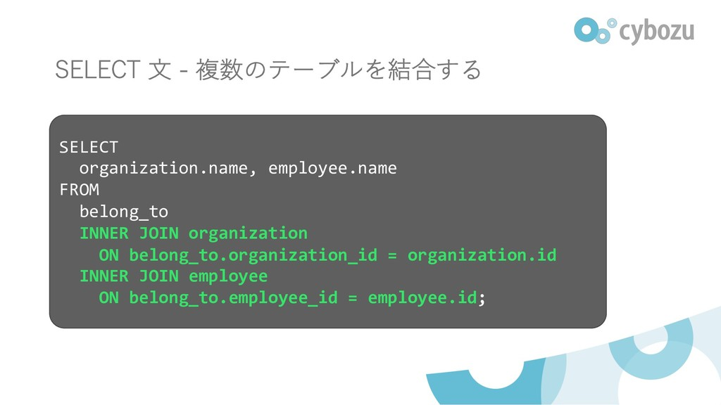 - SELECT organization.name, employee.name FROM ...