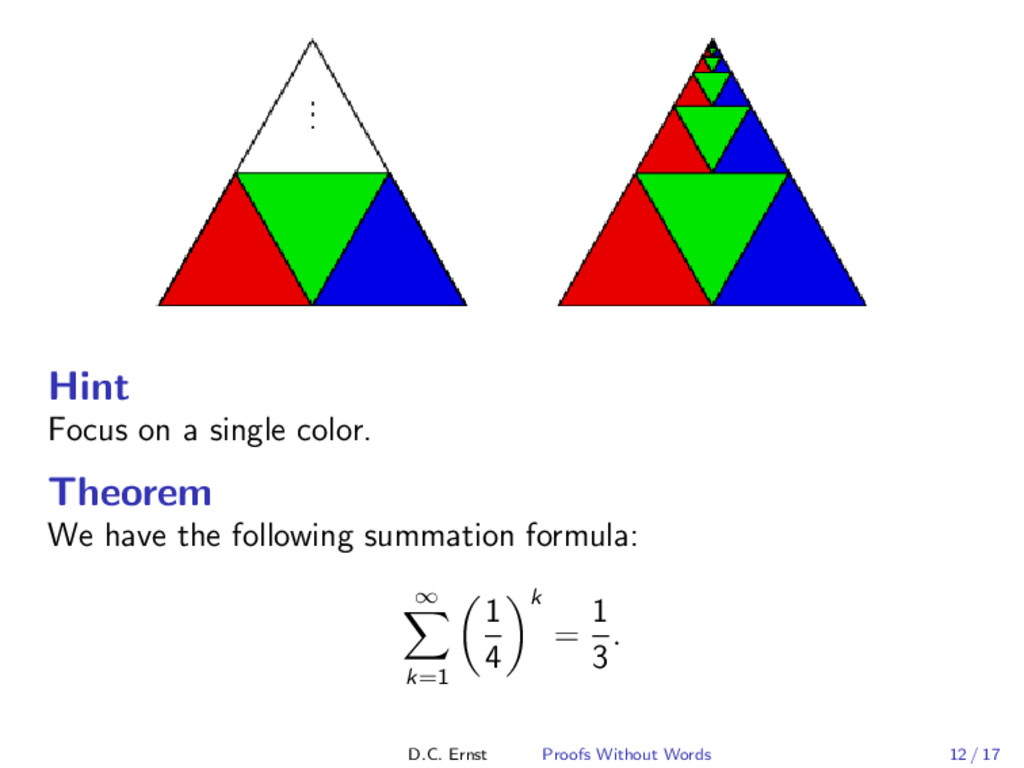 Hint Focus on a single color. Theorem We have t...
