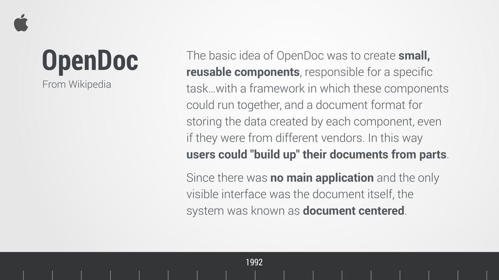 Timeline OpenDoc From Wikipedia 1992 1993 The b...