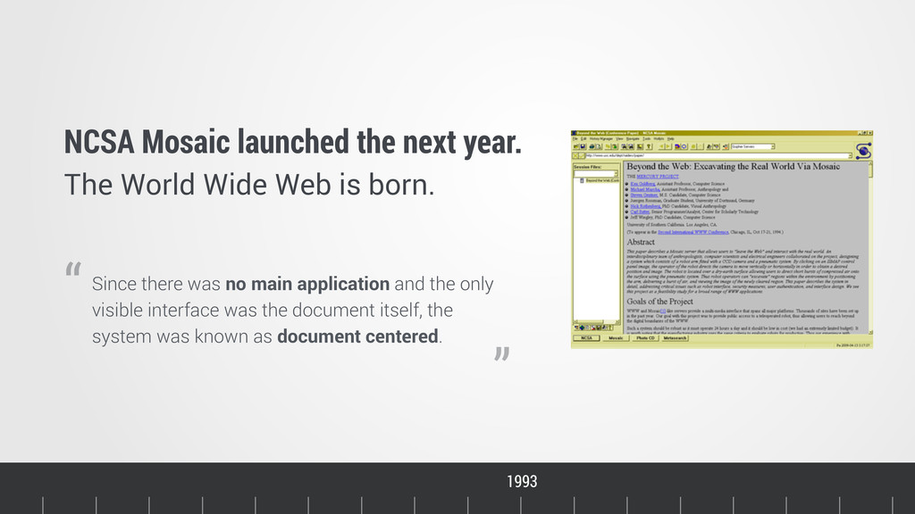 Timeline 1993 NCSA Mosaic launched the next yea...