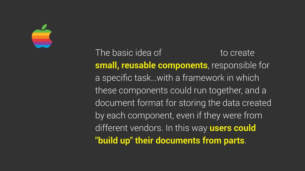 The basic idea of to create small, reusable com...