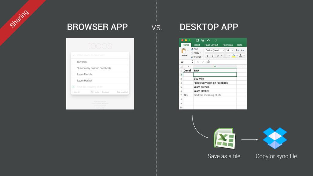 DESKTOP APP BROWSER APP Save as a file Copy or s...
