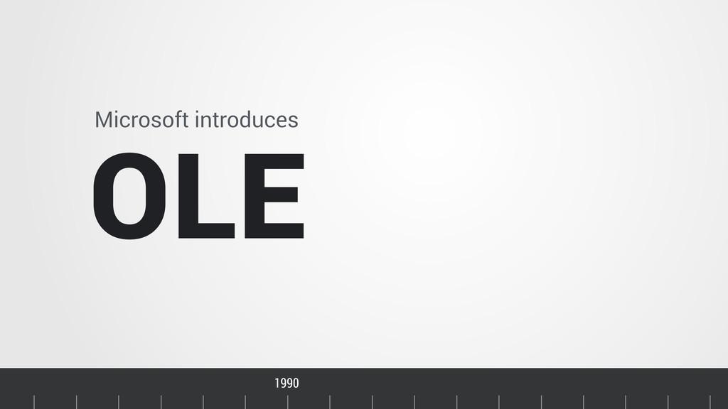 Timeline Microsoft introduces OLE 1990 1992