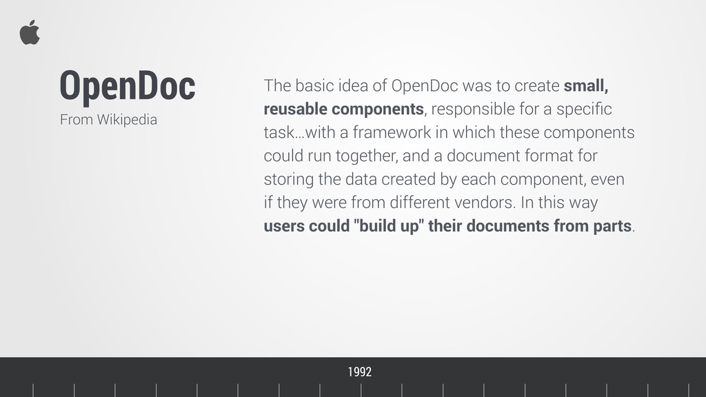 The basic idea of OpenDoc was to create small, ...