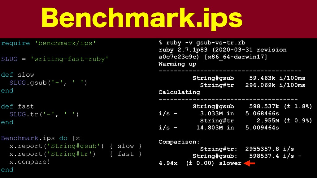 #FODINBSLJQT require 'benchmark/ips' SLUG = 'w...