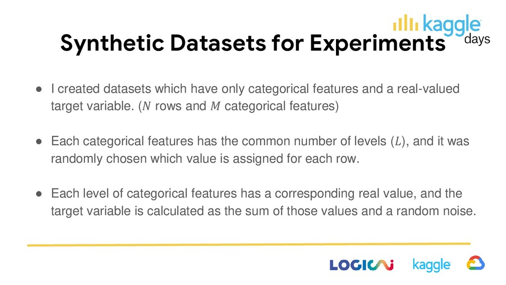 Synthetic Datasets for Experiments ● I created ...