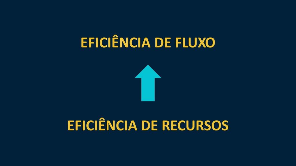 EFICIÊNCIA DE FLUXO EFICIÊNCIA DE RECURSOS