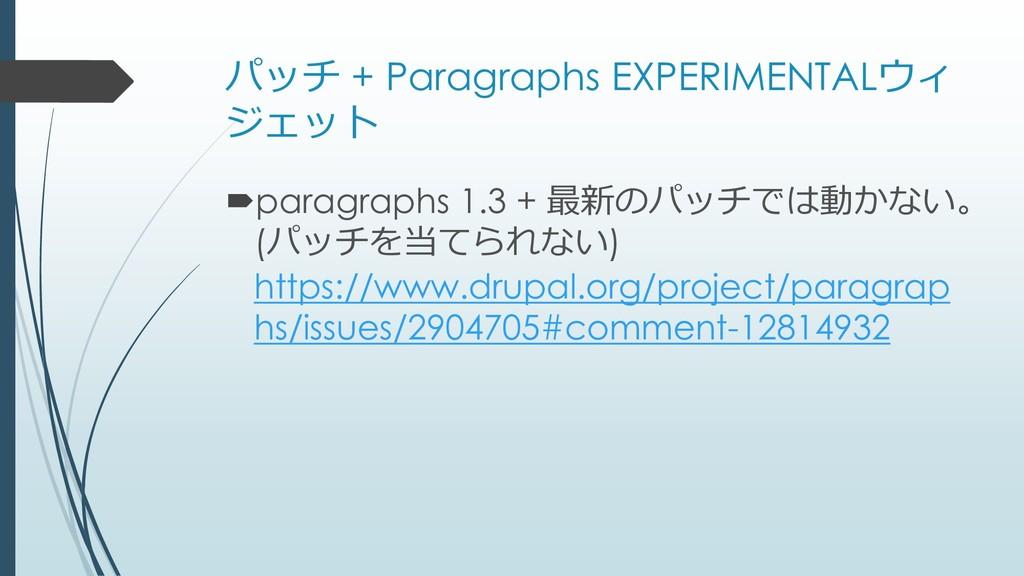 パッチ + Paragraphs EXPERIMENTALウィ ジェット paragraph...