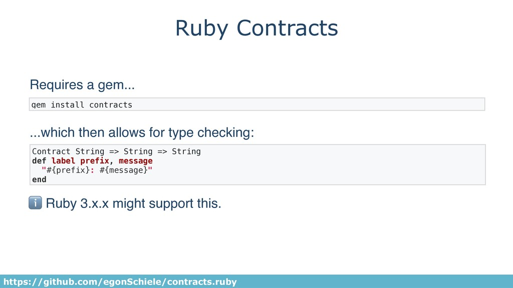 Ruby Contracts gem install contracts https://gi...