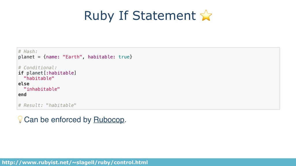 "Ruby If Statement ⭐ # Hash: planet = {name: ""Ea..."