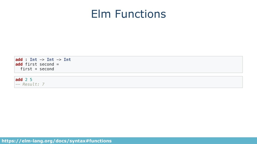 Elm Functions add : Int -> Int -> Int add first...