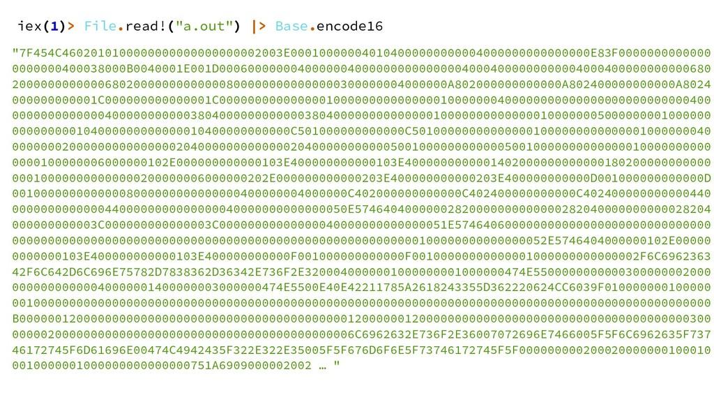 "iex(1)> File.read!(""a.out"") |> Base.encode16 ""7..."