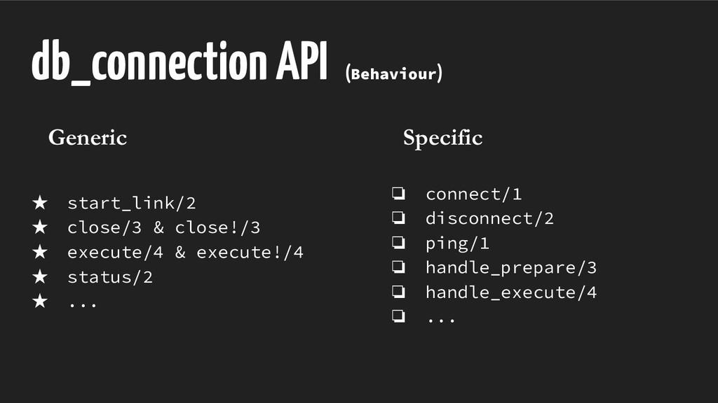 db_connection API (Behaviour) ★ start_link/2 ★ ...