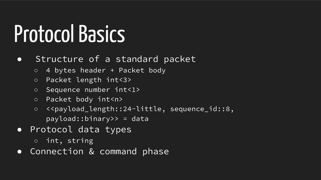 Protocol Basics ● Structure of a standard packe...