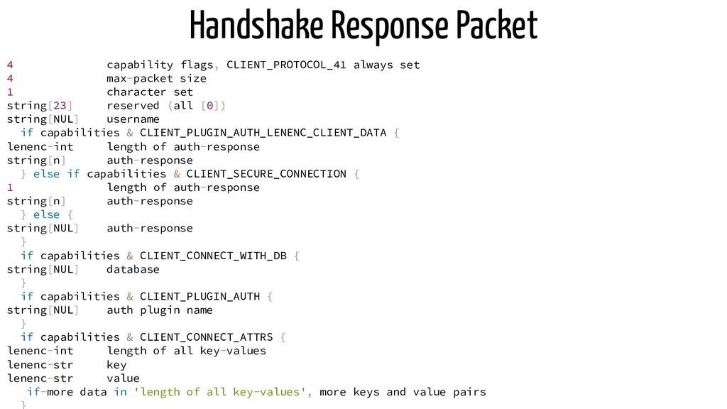 Handshake Response Packet 4 capability flags, C...