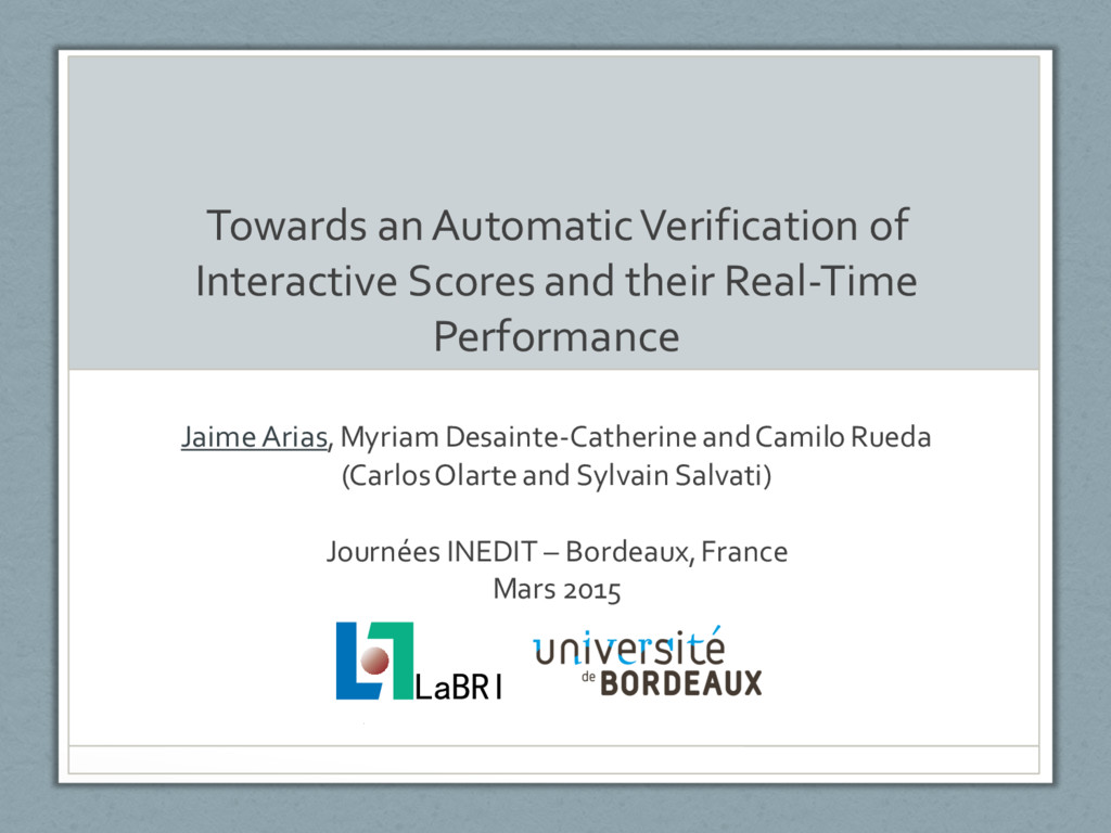 Towards an Automatic Verification of Interactiv...