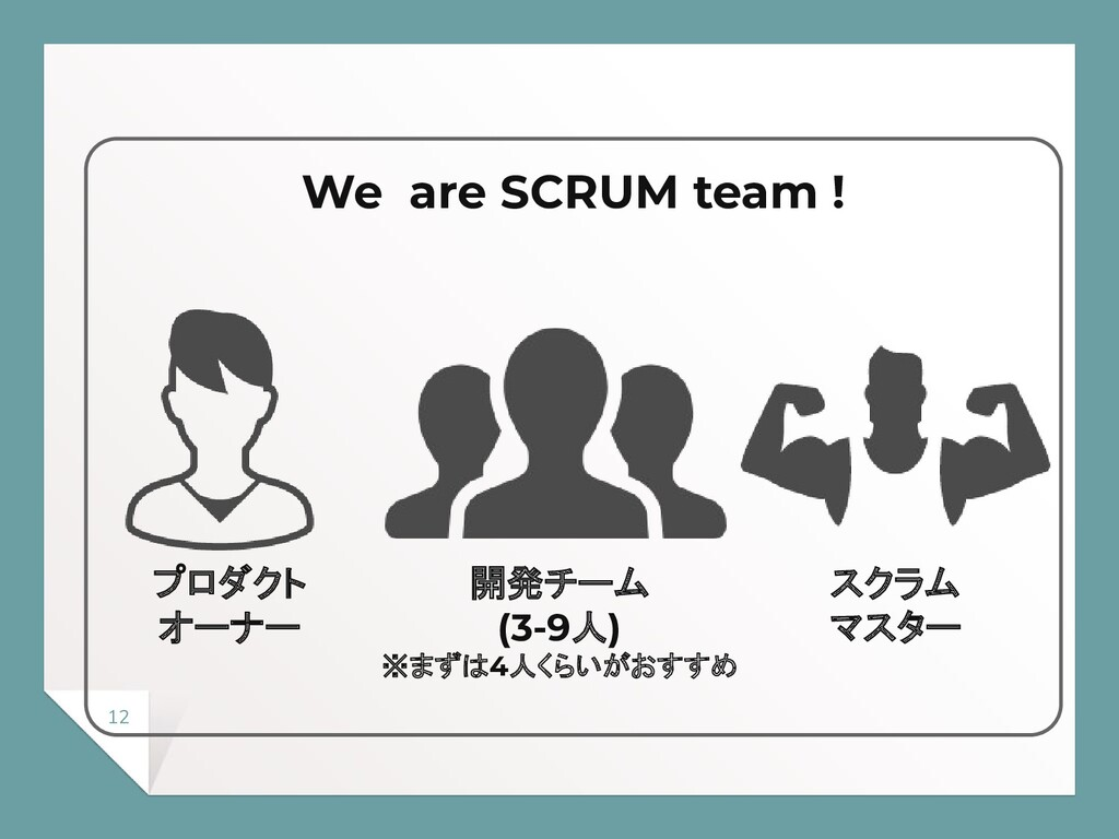 12 We are SCRUM team ! プロダクト オーナー 開発チーム (3-9人) ...