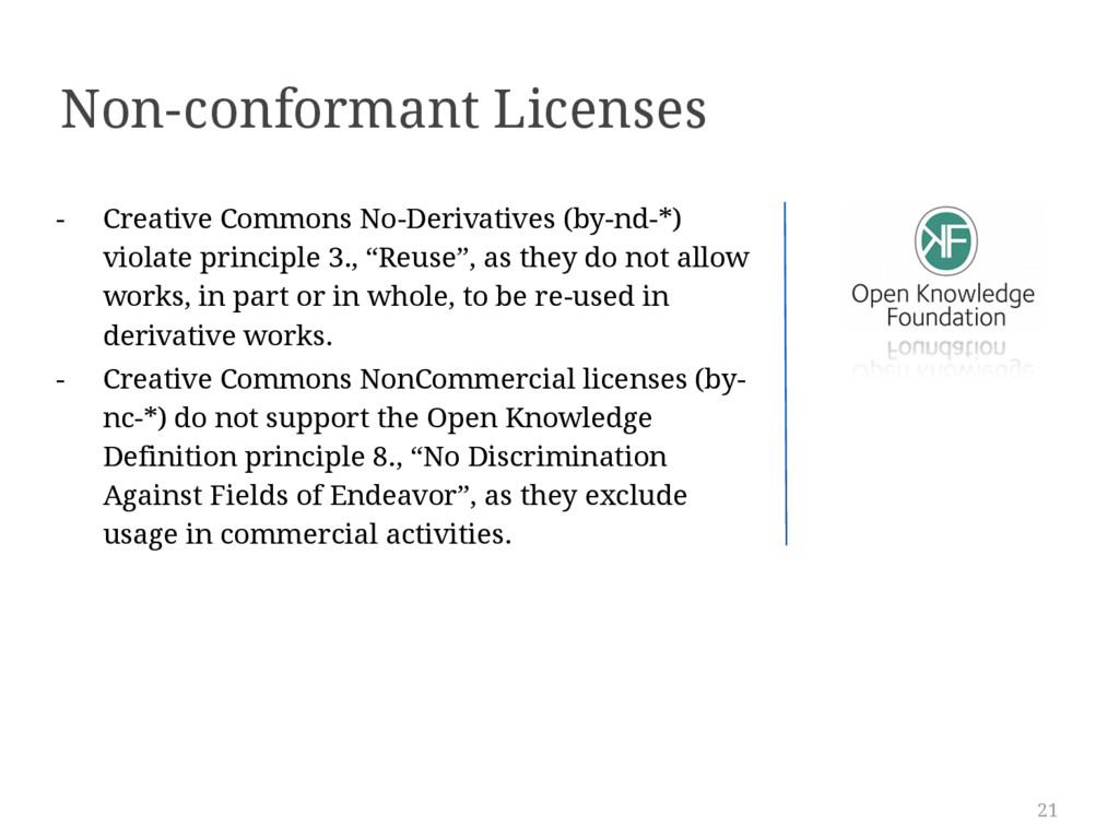21 Non-conformant Licenses - Creative Commons N...
