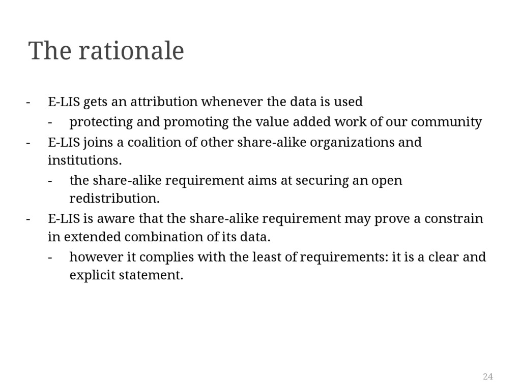 24 The rationale - E-LIS gets an attribution wh...