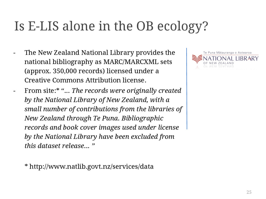 25 Is E-LIS alone in the OB ecology? - The New ...