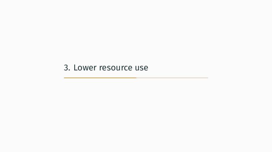 3. Lower resource use
