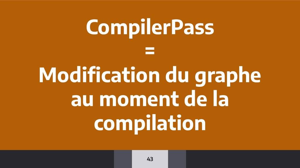 43 CompilerPass = Modification du graphe au mome...