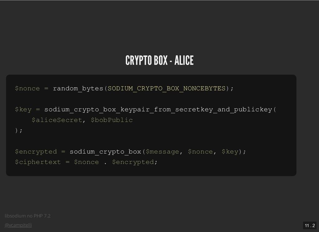 libsodium no PHP 7.2 @vcampitelli CRYPTO BOX - ...
