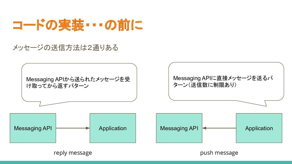 コードの実装・・・の前に メッセージの送信方法は2通りある Messaging API App...